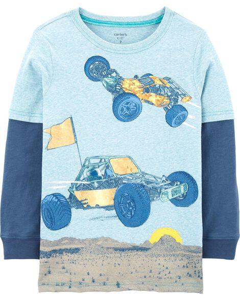 T-shirt à manches de style superposé avec voiture de course
