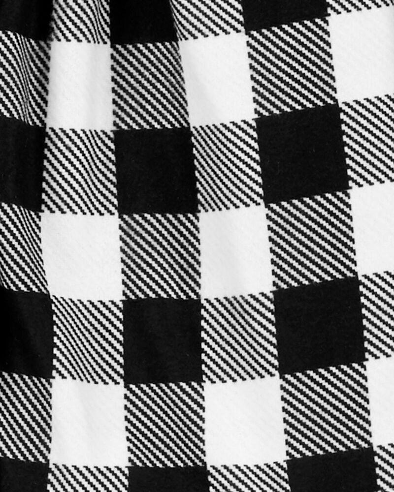 2-Piece Checkered Coat-Style Fleece PJs, , hi-res