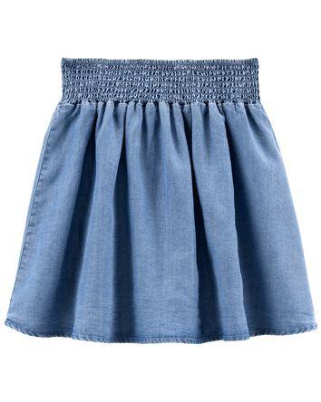 Tween Chambray Pleated Skirt