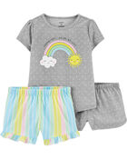 3-Piece Rainbow Poly PJs, , hi-res