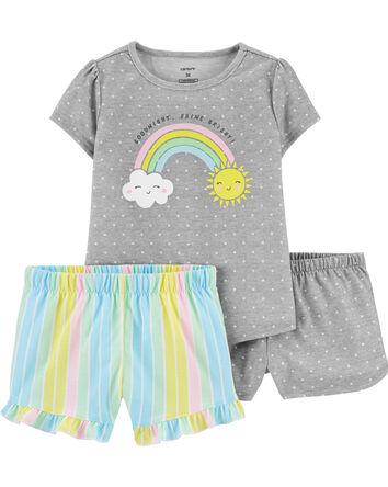 Pyjama 3 pièces en polyester arc-en...