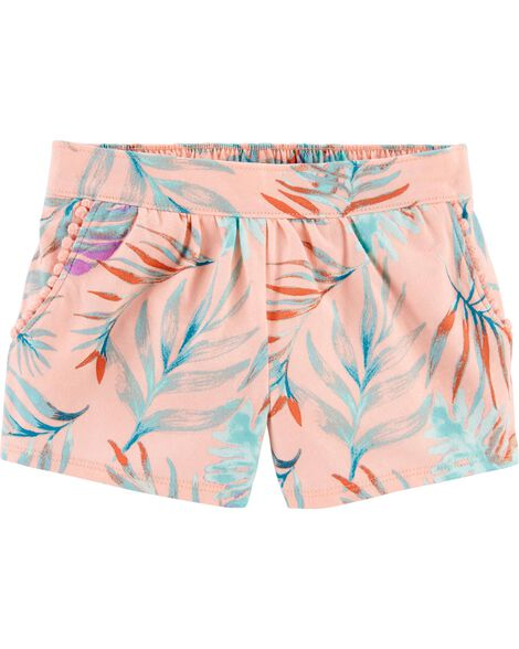 Short à enfiler à motif tropical avec poche à pompons