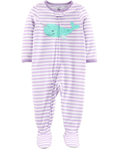 Pyjama 1 pièce à pieds en polyester motif narval