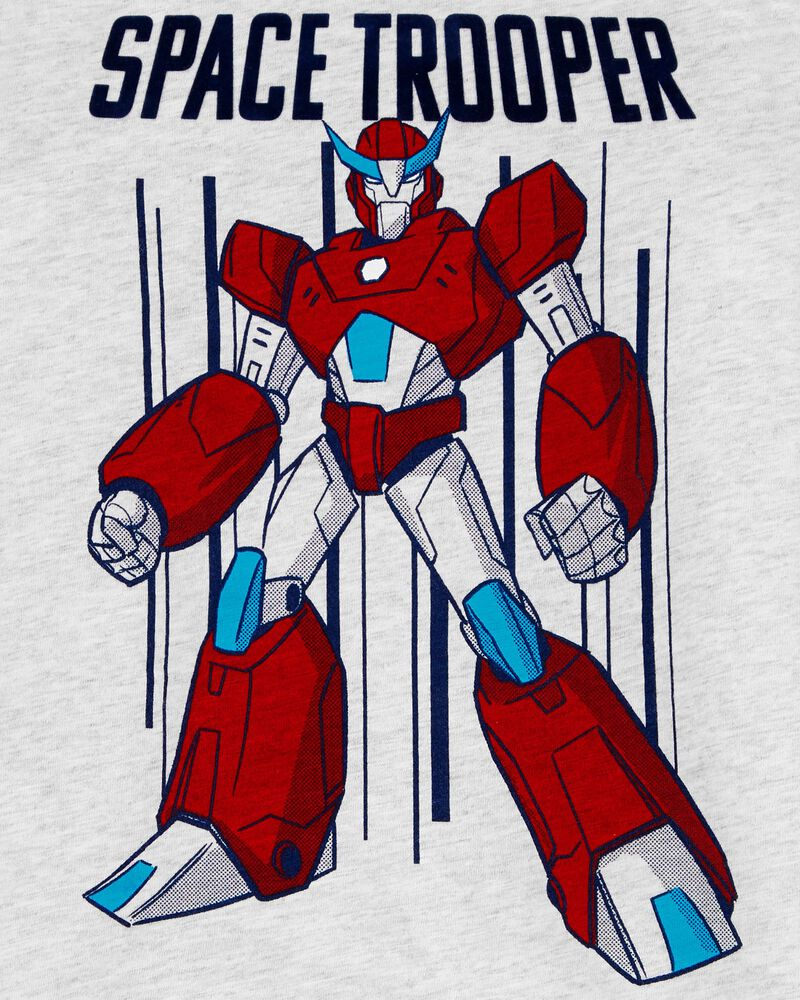 T-shirt en jersey flammé à manches raglan et robot, , hi-res