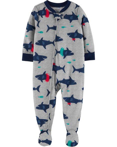 Pyjama 1 pièce en polyester à pieds motif requin