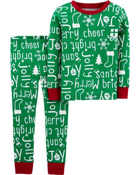 2-Piece Holiday Snug Fit Cotton PJs
