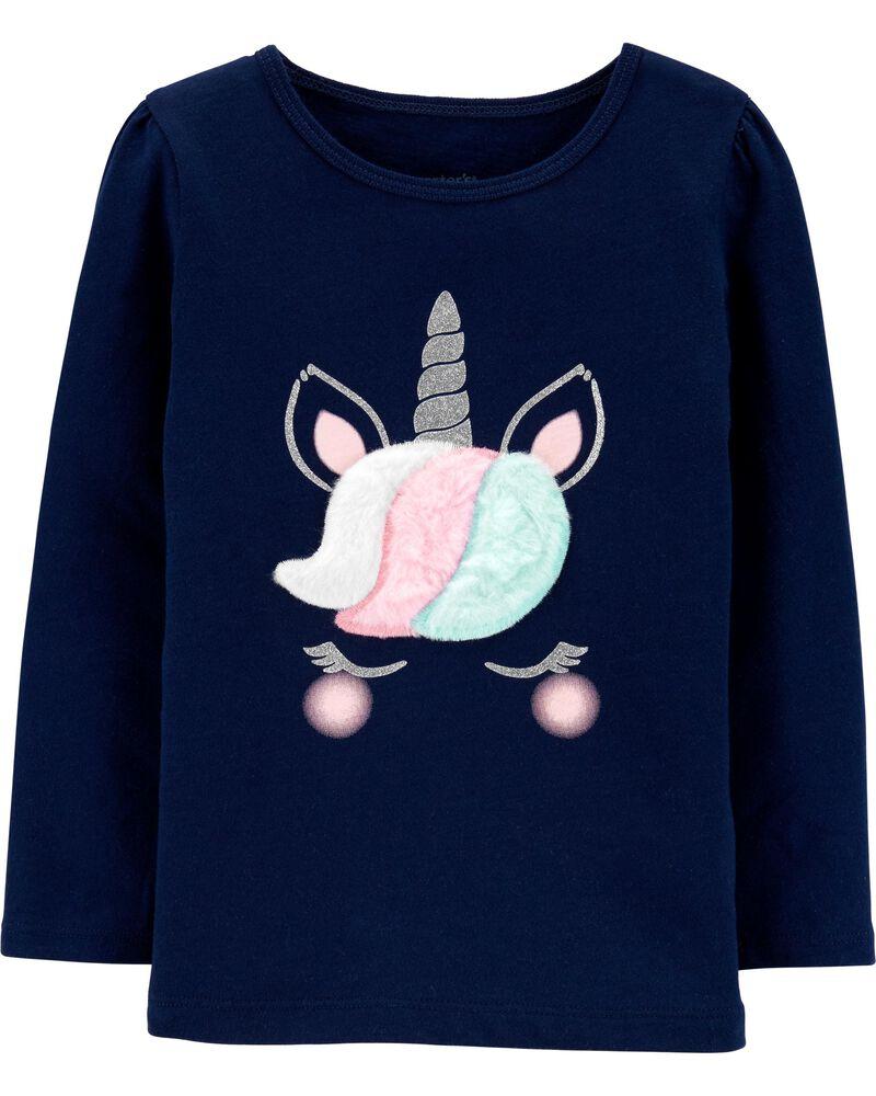T-shirt en jersey à licorne scintillante, , hi-res