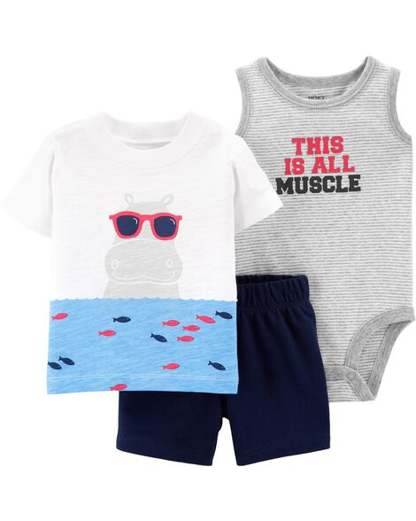 3-Piece Hippo Little Short Set
