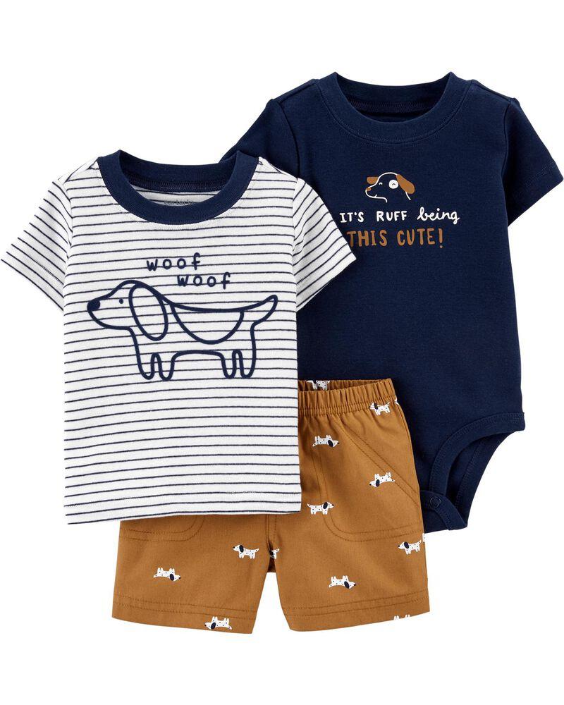Ensemble 3 pièces chemise et short à chiens, , hi-res