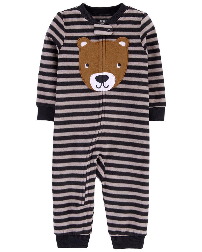 1-Piece Bear Fleece Footless PJs, , hi-res