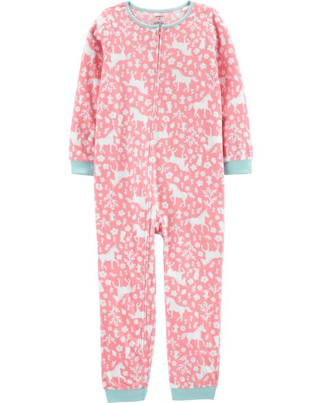 1-Piece Unicorn Fleece Footless PJs