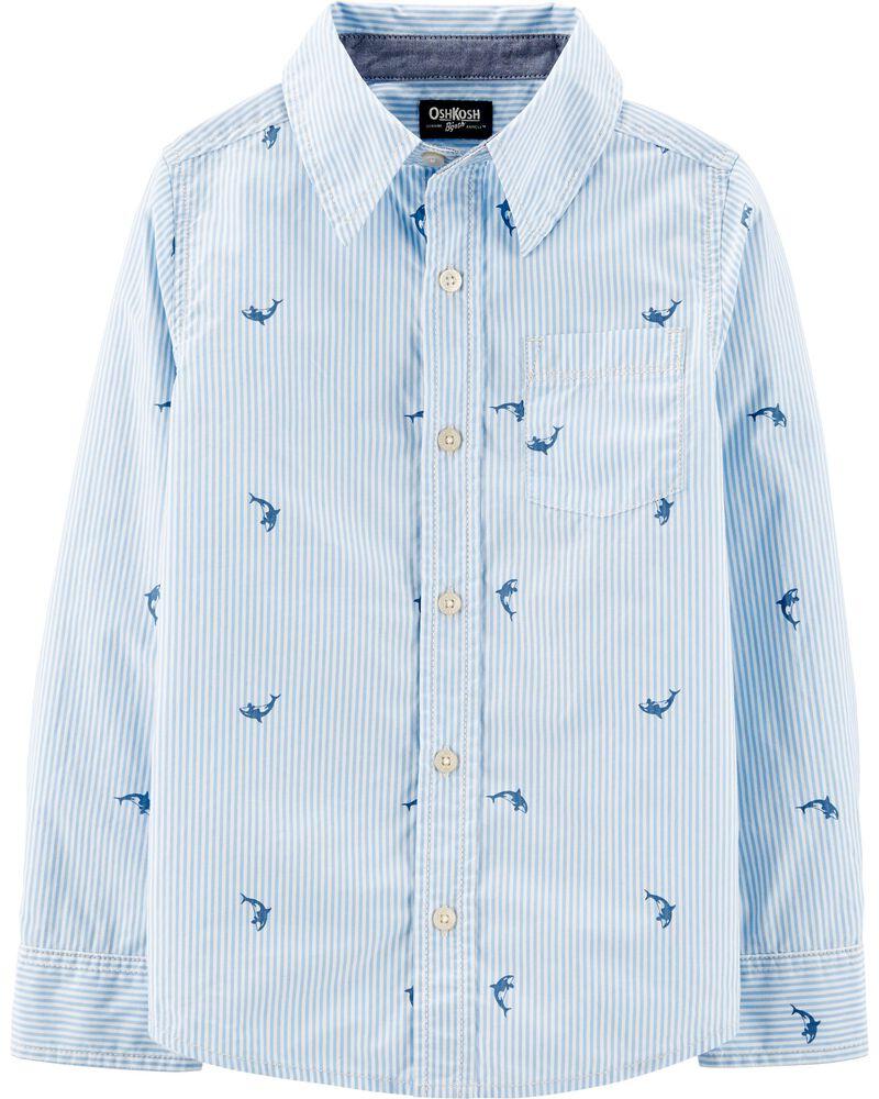 Chemise boutonnée à baleine, , hi-res