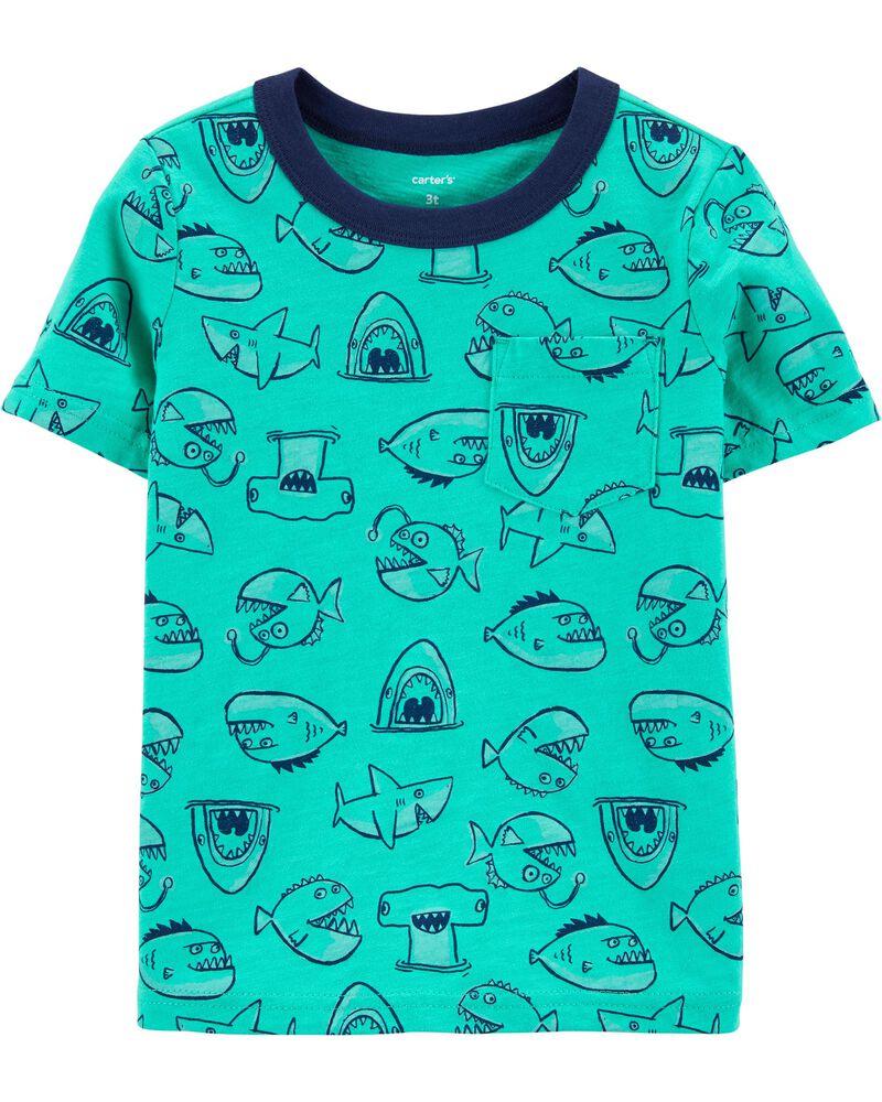 T-shirt à poche en jersey flammé avec poisson, , hi-res