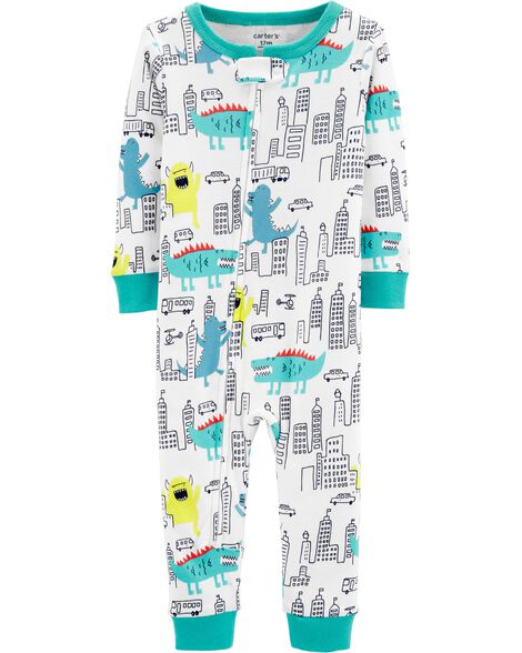 1-Piece Monster Snug Fit Cotton Footless PJs