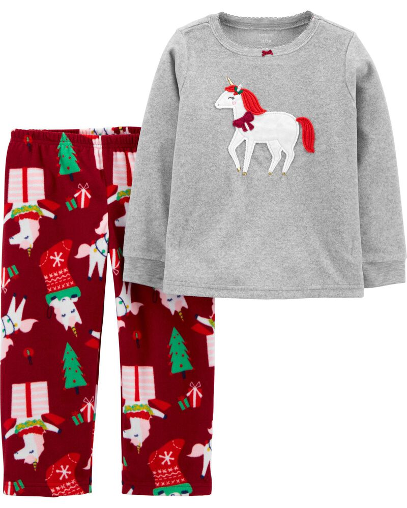 2-Piece Holiday Unicorn Fleece PJs, , hi-res