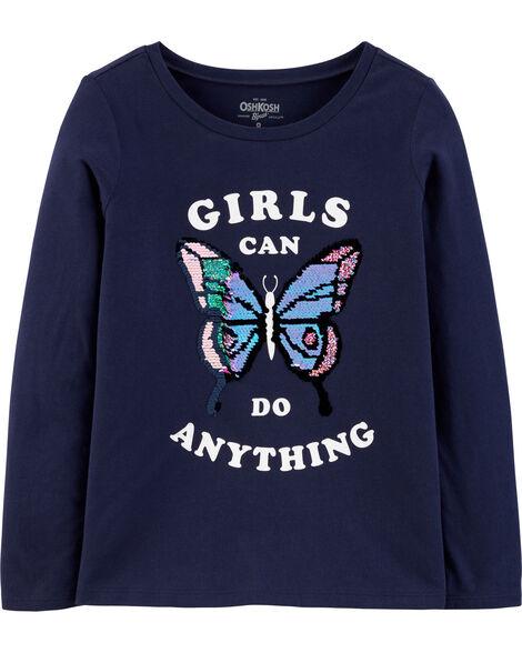 T-shirt à paillettes réversibles et papillon