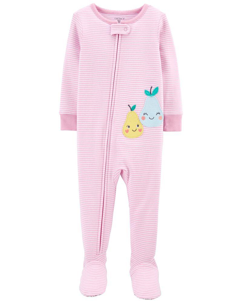 Pyjama 1 pièce à pieds en coton ajusté à poire, , hi-res