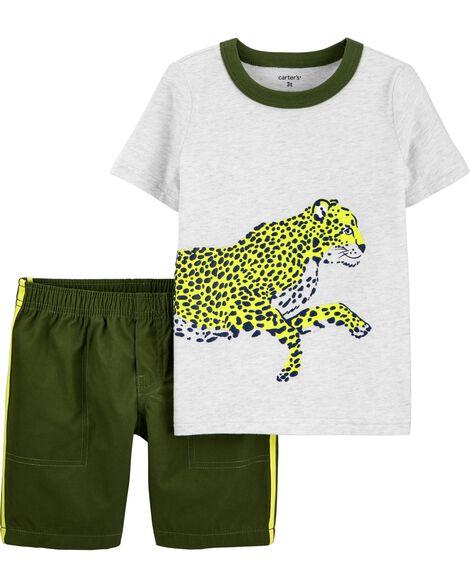2-Piece Cheetah Jersey Tee & Short Set