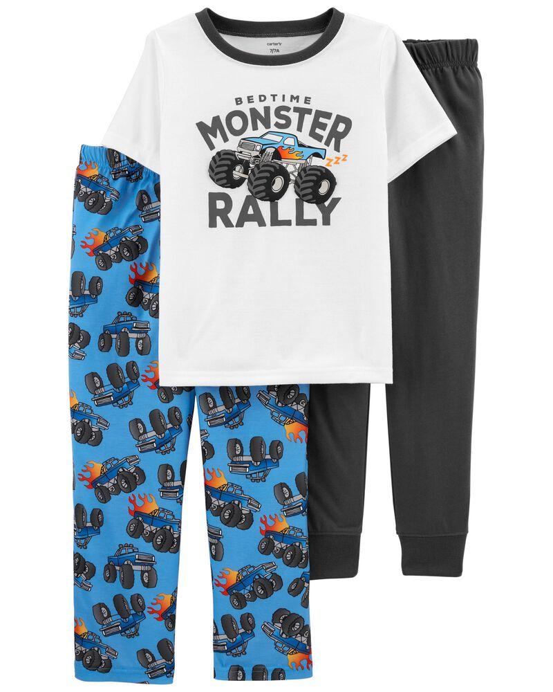 Pyjama 3 pièces de coupe ample à monstre, , hi-res