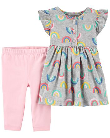2-Piece Rainbow Dress & Legging Set