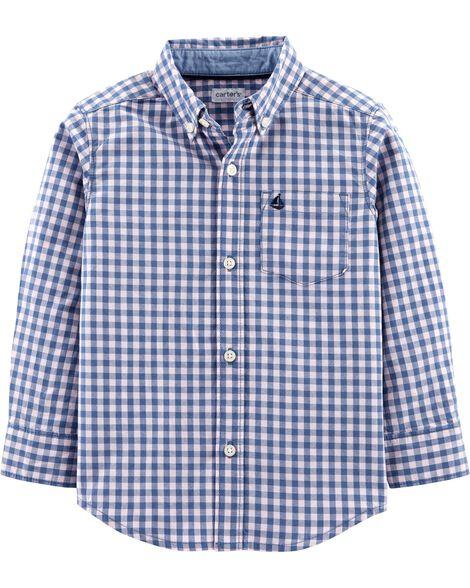 Gingham Poplin Button-Front Shirt