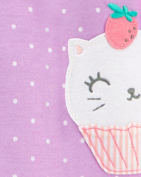 1-Piece Cupcake Kitty Poly Footie PJs