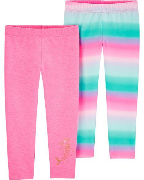 2-Pack Rainbow Mermaid Leggings