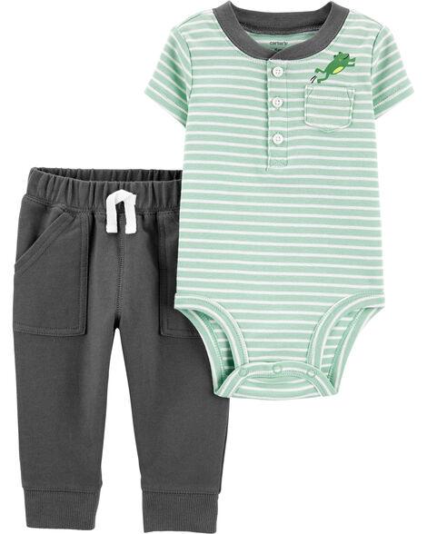 2-Piece Frog Pocket Bodysuit Pant Set