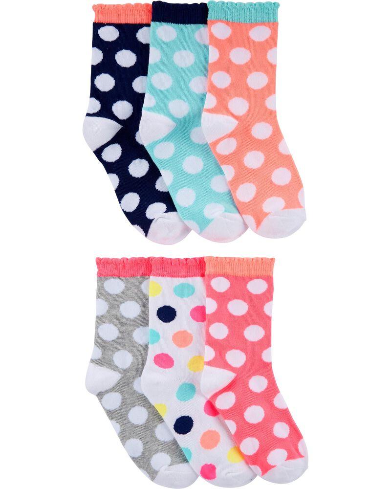6 Pack Crew Socks, , hi-res