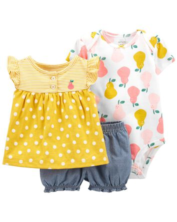 3-Piece Fruit Little Short Set