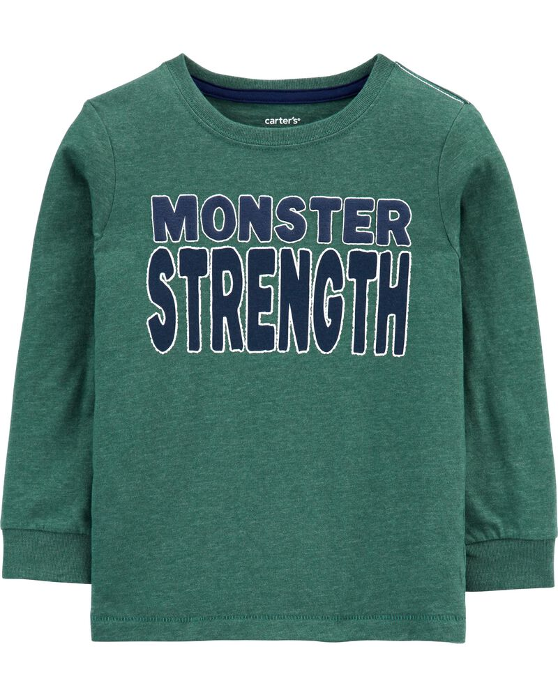 T-shirt chiné à monstre, , hi-res