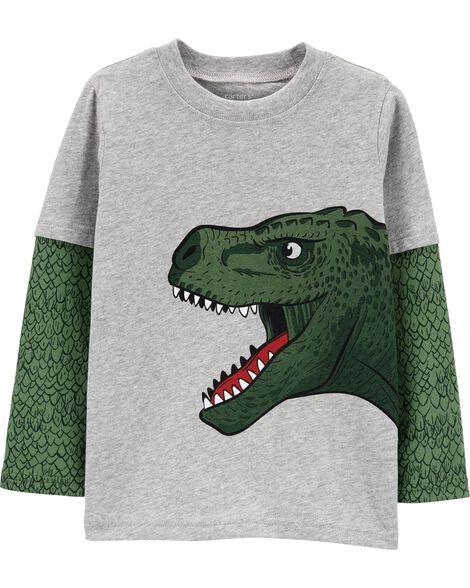 T-shirt en jersey de style superposé avec dinosaure