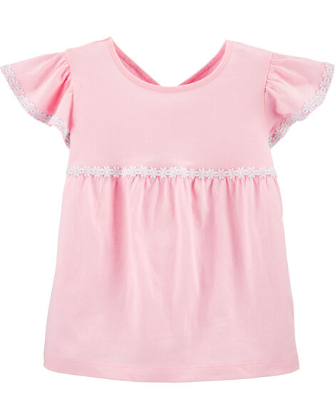 Embroidered Jersey Top