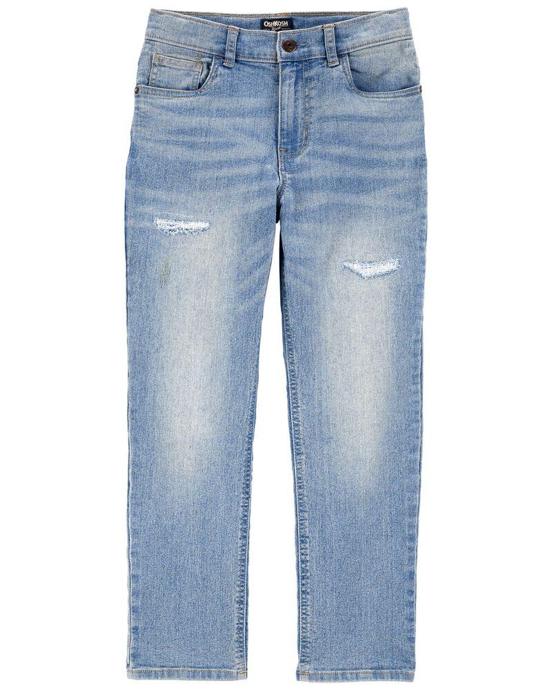 Rip & Repair Stretch Denim Jeans — Slim Fit, , hi-res