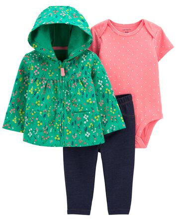 3-Piece Floral Little Cardigan Set