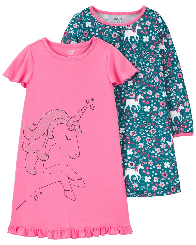 2-Pack Unicorn Nightgowns, , hi-res