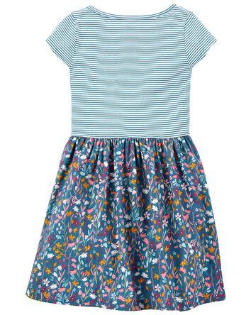 Mixed Print Shirt Dress