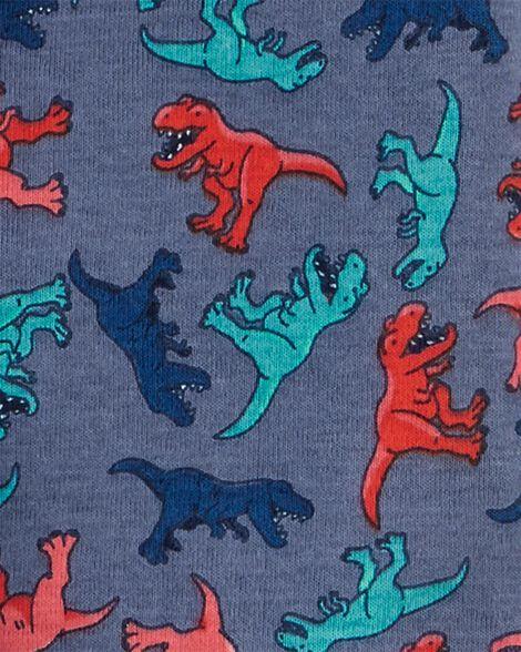 Pyjamas 4 pièces en coton ajusté à dinosaure