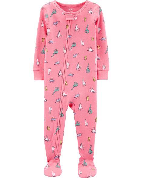 Pyjama 1 pièce à pieds en coton ajusté motif dinosaure et licorne