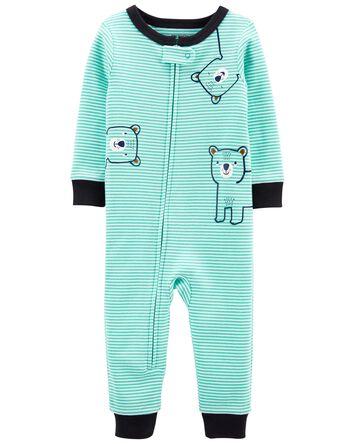 Pyjama 1 pièce rayé en coton ajusté...