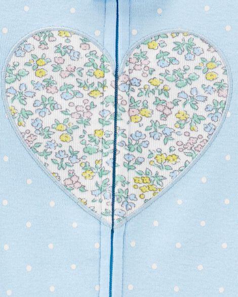 1-Piece Floral Heart Snug Fit Cotton Footless PJs