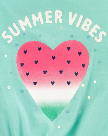 Summer Vibes Strawberry Tie-Front T...