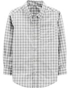 Checkered Poplin Button-Front Shirt, , hi-res