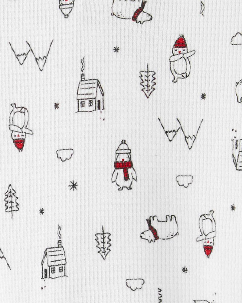 Ensemble 2 pièces cache-couche henley et pantalon motif hiver, , hi-res