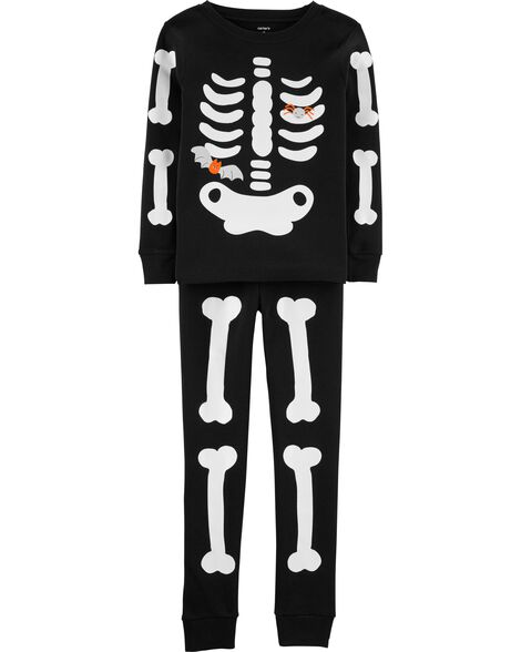2-Piece Skeleton Snug Fit Cotton PJs