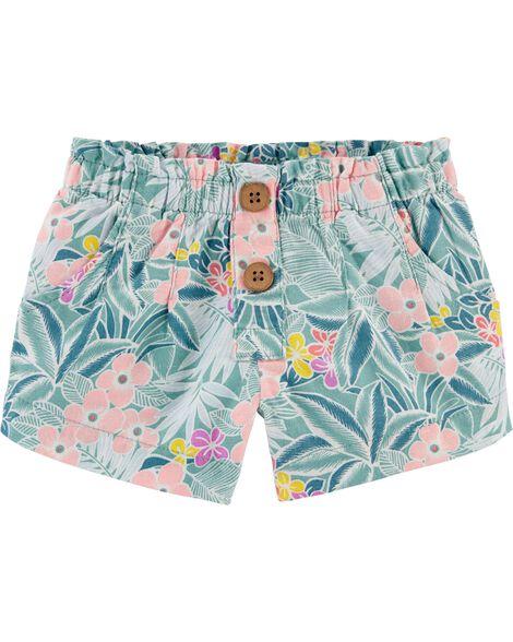 Short en lin à motif tropical