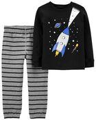 2-Piece Space Jersey Tee & Striped Pant Set, , hi-res