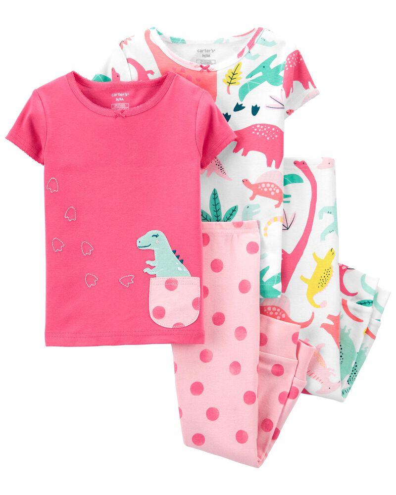 Pyjamas 4 pièces en coton ajusté à motif de dinosaure , , hi-res