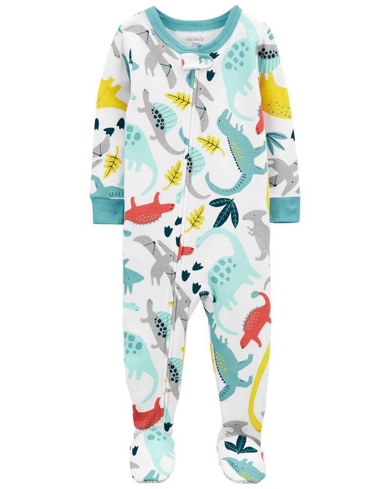 Pyjama 1 pièce à pieds en coton ajusté à pieds et motif dinosaure, , hi-res