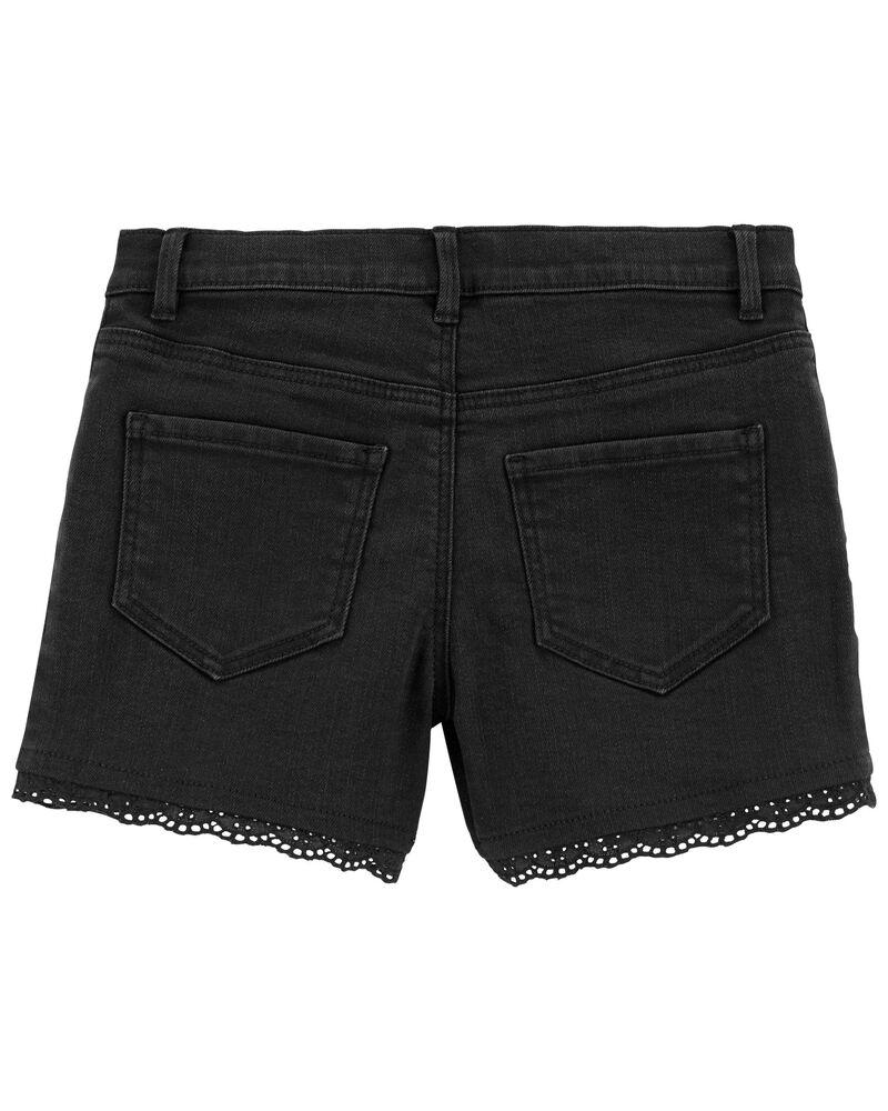Eyelet Trim Knit Denim Shorts, , hi-res